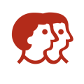 イアトリズム関連サイトに用いられるイメージアイコン『社会の人々が互いに寄り添い助けあう姿を表す絵』